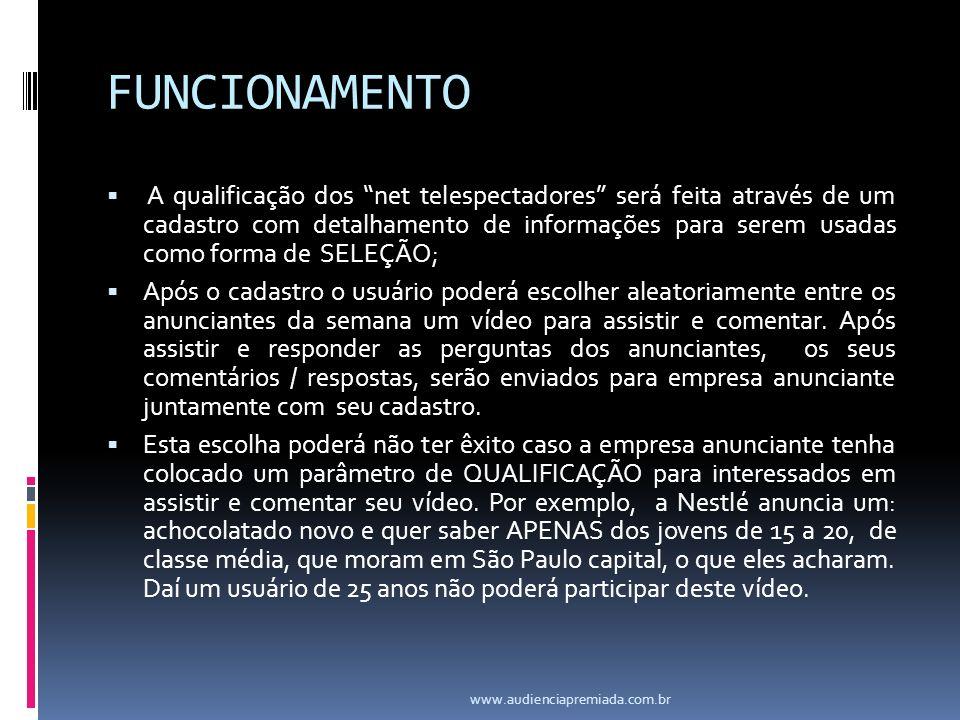 FUNCIONAMENTO A qualificação dos net telespectadores será feita através de um cadastro com detalhamento de informações para serem usadas como forma de