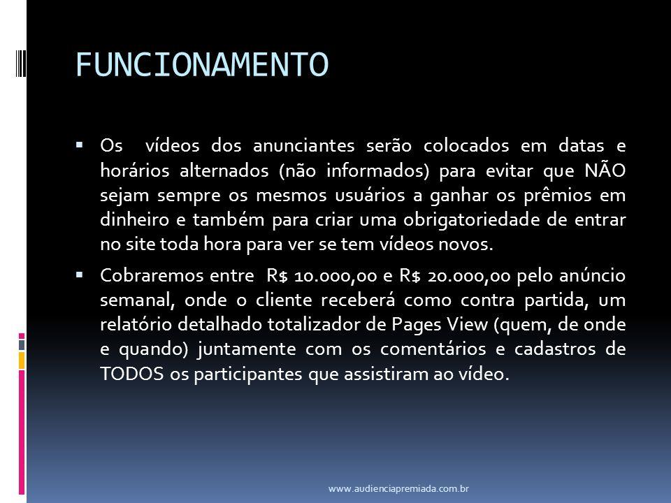 FUNCIONAMENTO Os vídeos dos anunciantes serão colocados em datas e horários alternados (não informados) para evitar que NÃO sejam sempre os mesmos usu