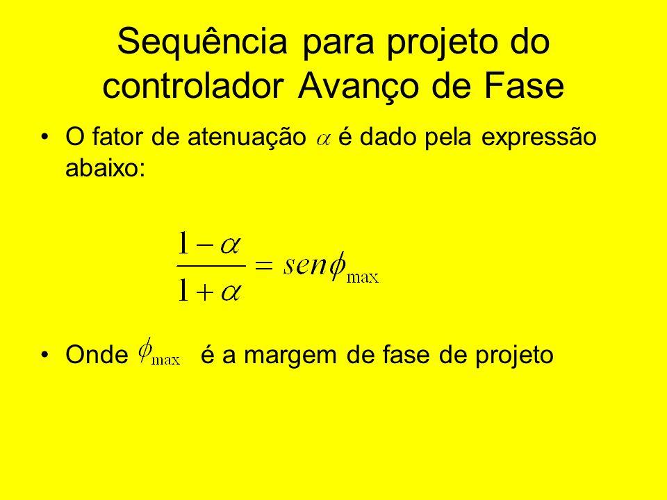 Sequência para projeto do controlador Avanço de Fase O fator de atenuação é dado pela expressão abaixo: Onde é a margem de fase de projeto