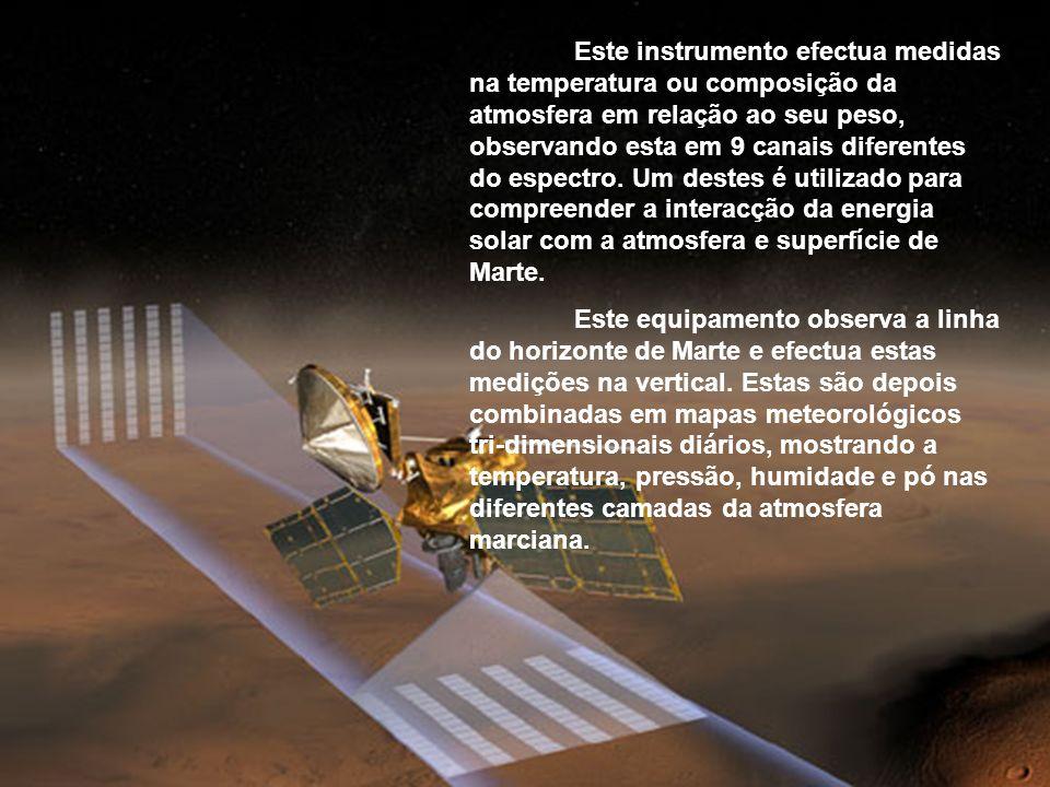 (Compact Reconnaissance Imaging Spectrometer for Mars) Este espectrómetro estuda através da luz visivél e perto do infravermelho, transformando uma fo