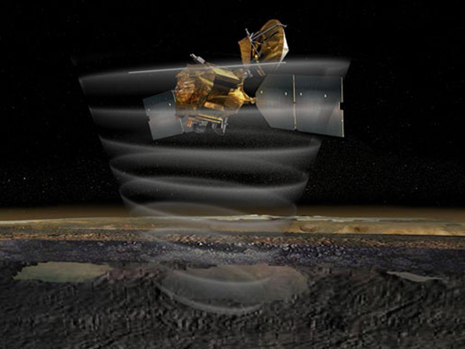 (Mars Climate Sounder) Este instrumento irá identificar variações na temperatura, pó e concentrações de vapor de água em estratos verticais da atmosfe