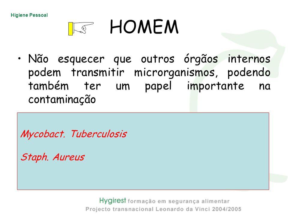Higiene Pessoal HOMEM Não esquecer que outros órgãos internos podem transmitir microrganismos, podendo também ter um papel importante na contaminação