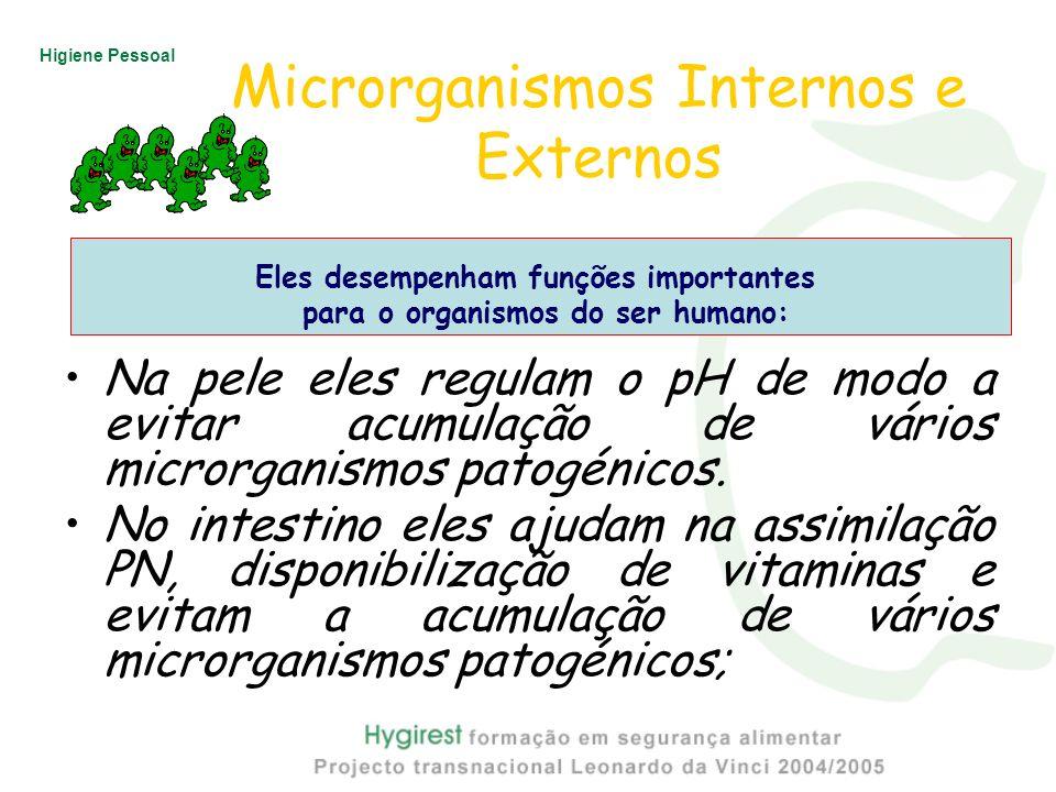 Higiene Pessoal Microrganismos Internos e Externos Na pele eles regulam o pH de modo a evitar acumulação de vários microrganismos patogénicos. No inte