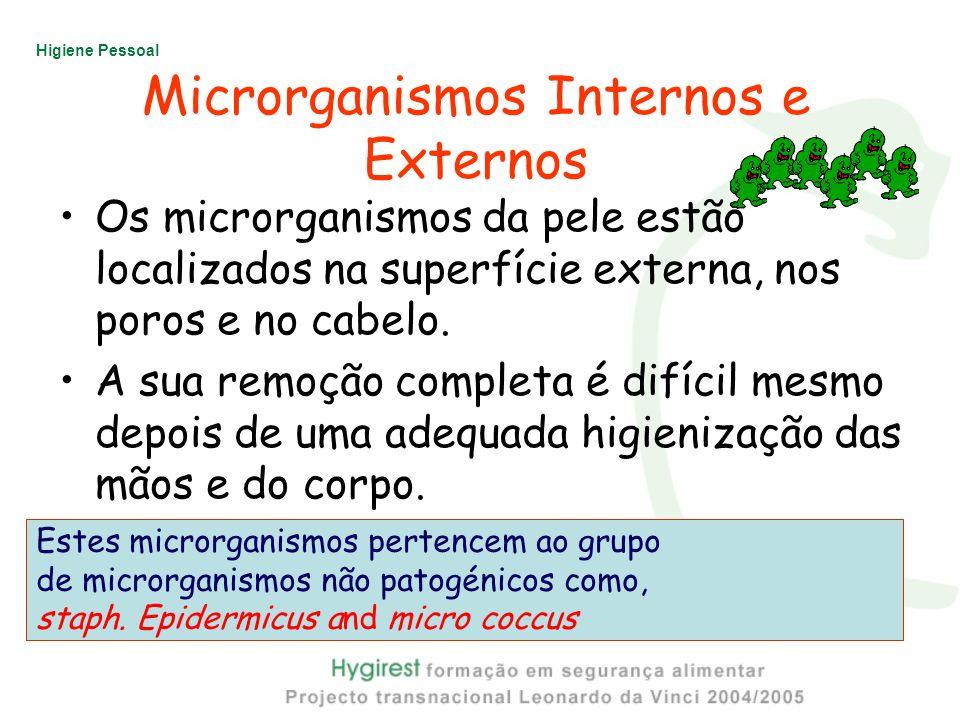 Higiene Pessoal Microrganismos Internos e Externos Os microrganismos da pele estão localizados na superfície externa, nos poros e no cabelo. A sua rem