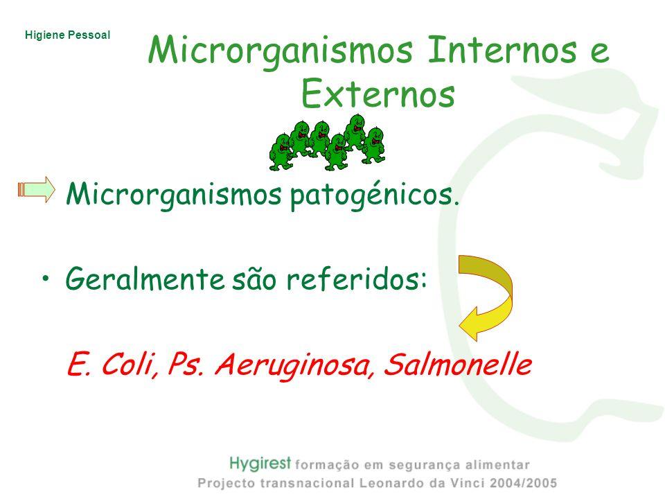 Higiene Pessoal Microrganismos Internos e Externos Microrganismos patogénicos. Geralmente são referidos: E. Coli, Ps. Aeruginosa, Salmonelle