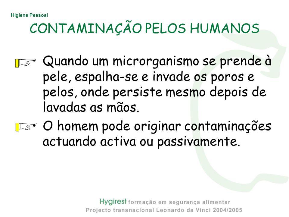 Higiene Pessoal CONTAMINAÇÃO PELOS HUMANOS Quando um microrganismo se prende à pele, espalha-se e invade os poros e pelos, onde persiste mesmo depois