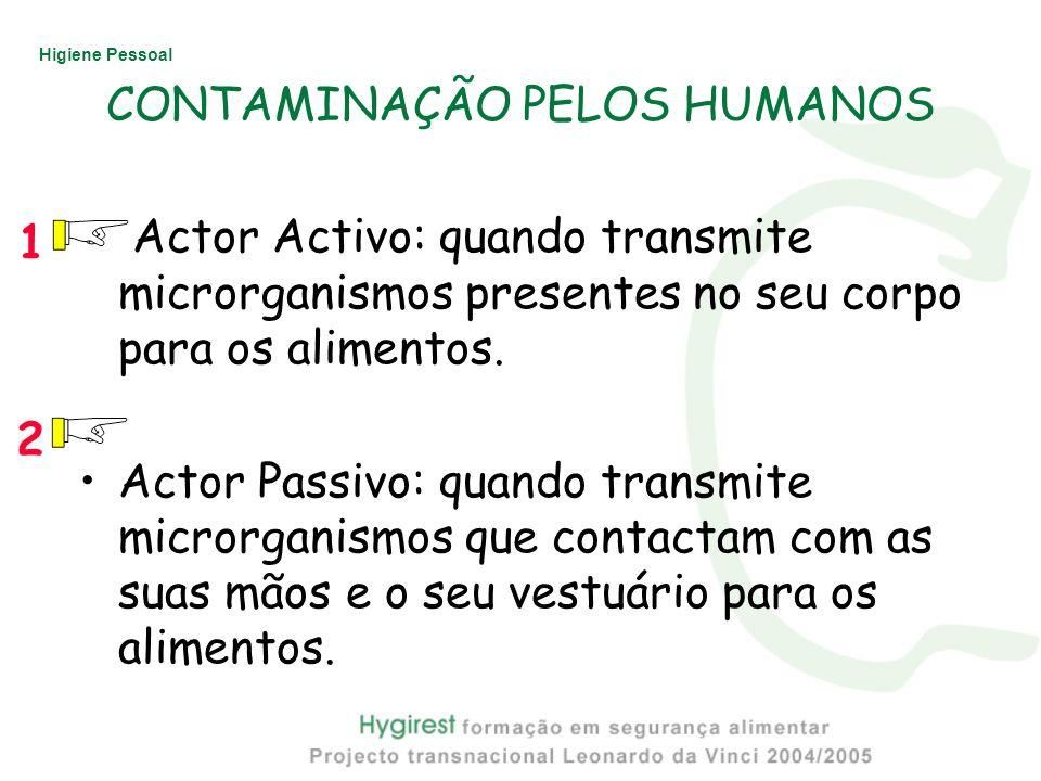 Higiene Pessoal Actor Activo: quando transmite microrganismos presentes no seu corpo para os alimentos. Actor Passivo: quando transmite microrganismos