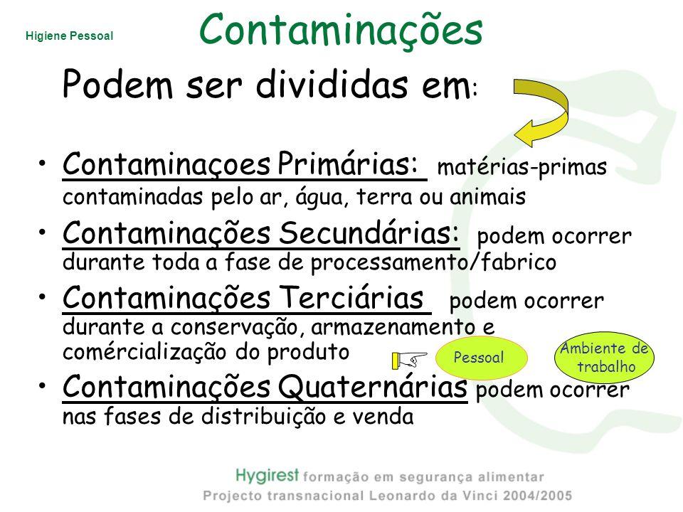 Higiene Pessoal Contaminações Podem ser divididas em : Contaminaçoes Primárias: matérias-primas contaminadas pelo ar, água, terra ou animais Contamina