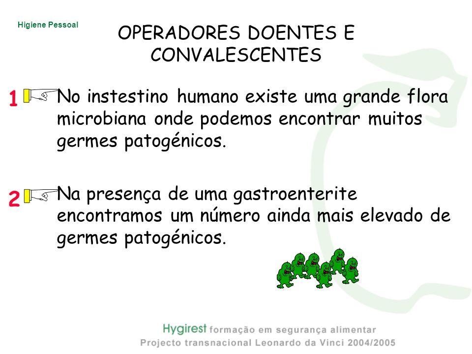 Higiene Pessoal OPERADORES DOENTES E CONVALESCENTES No instestino humano existe uma grande flora microbiana onde podemos encontrar muitos germes patog