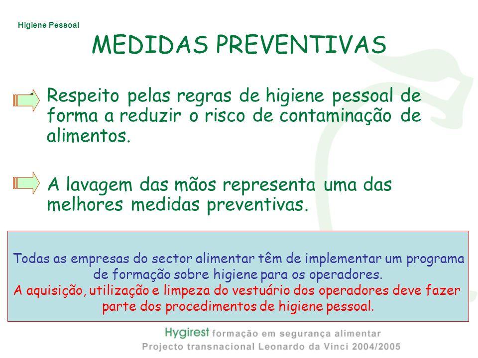 Higiene Pessoal MEDIDAS PREVENTIVAS Respeito pelas regras de higiene pessoal de forma a reduzir o risco de contaminação de alimentos. A lavagem das mã
