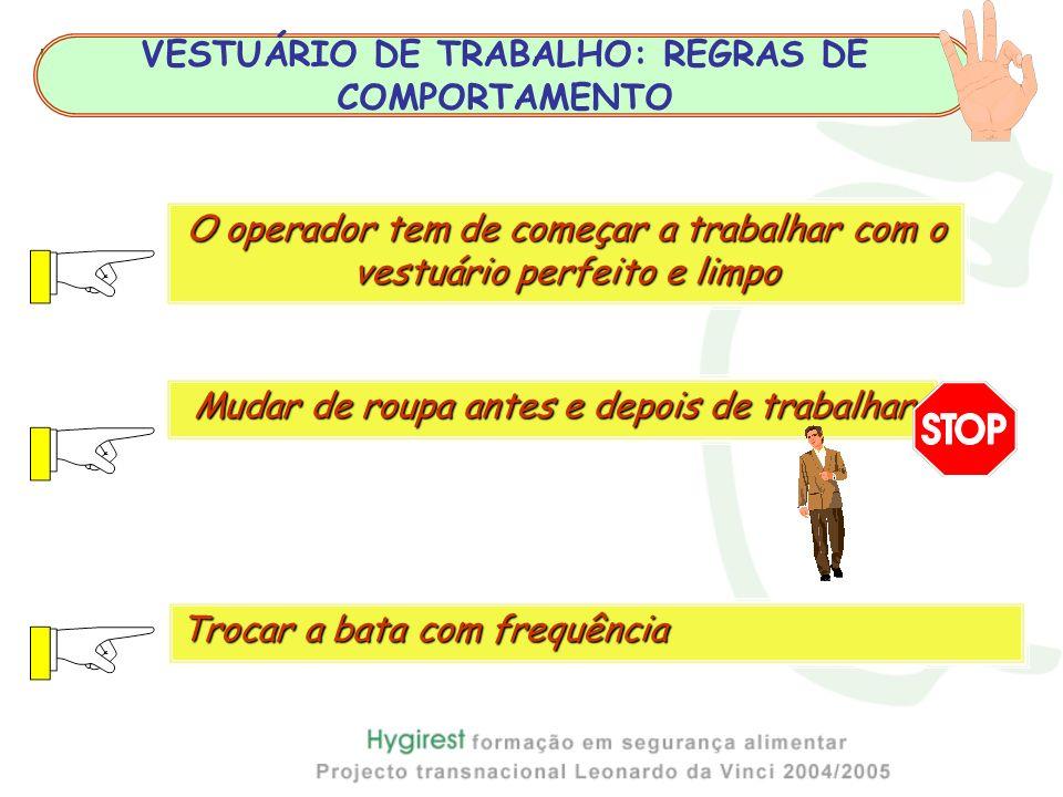 Higiene Pessoal VESTUÁRIO DE TRABALHO: REGRAS DE COMPORTAMENTO Mudar de roupa antes e depois de trabalhar Trocar a bata com frequência O operador tem