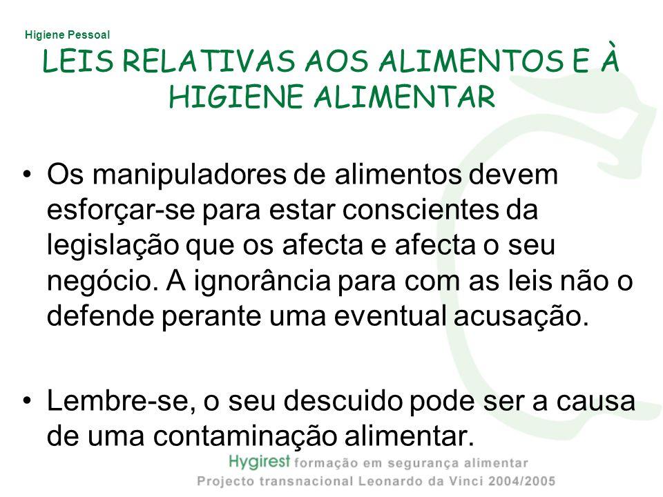 Higiene Pessoal LEIS RELATIVAS AOS ALIMENTOS E À HIGIENE ALIMENTAR Os manipuladores de alimentos devem esforçar-se para estar conscientes da legislaçã
