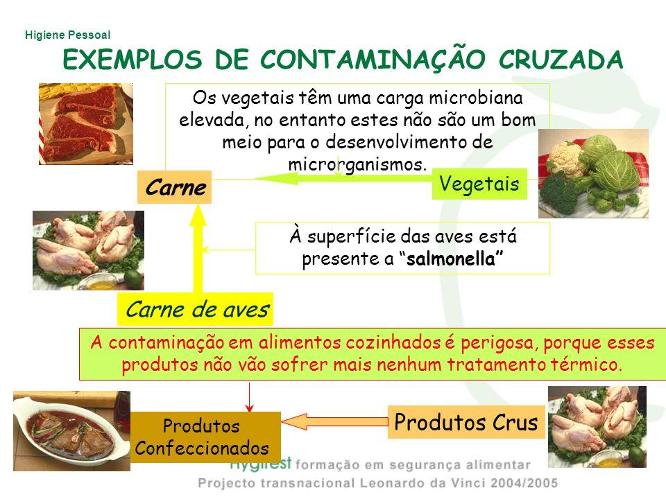 Higiene Pessoal A contaminação em alimentos cozinhados é perigosa, porque esses produtos não vão sofrer mais nenhum tratamento térmico. À superfície d