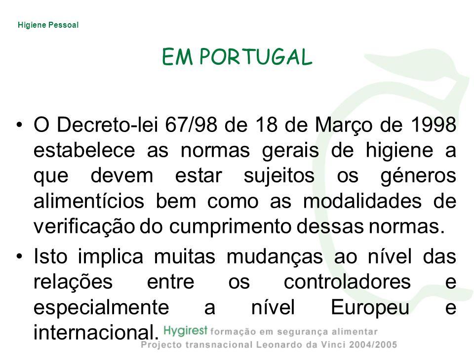 Higiene Pessoal EM PORTUGAL O Decreto-lei 67/98 de 18 de Março de 1998 estabelece as normas gerais de higiene a que devem estar sujeitos os géneros al