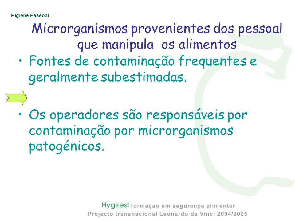 Higiene Pessoal Microrganismos provenientes dos pessoal que manipula os alimentos Fontes de contaminação frequentes e geralmente subestimadas. Os oper