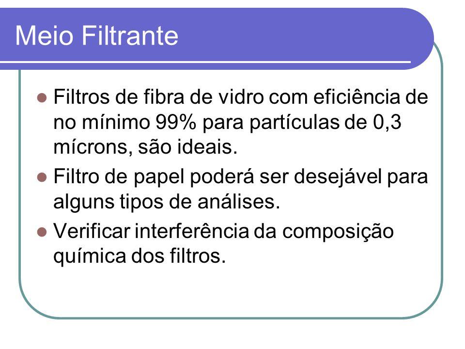Meio Filtrante Filtros de fibra de vidro com eficiência de no mínimo 99% para partículas de 0,3 mícrons, são ideais. Filtro de papel poderá ser desejá