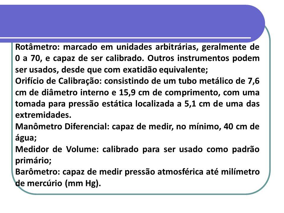Rotâmetro: marcado em unidades arbitrárias, geralmente de 0 a 70, e capaz de ser calibrado. Outros instrumentos podem ser usados, desde que com exatid