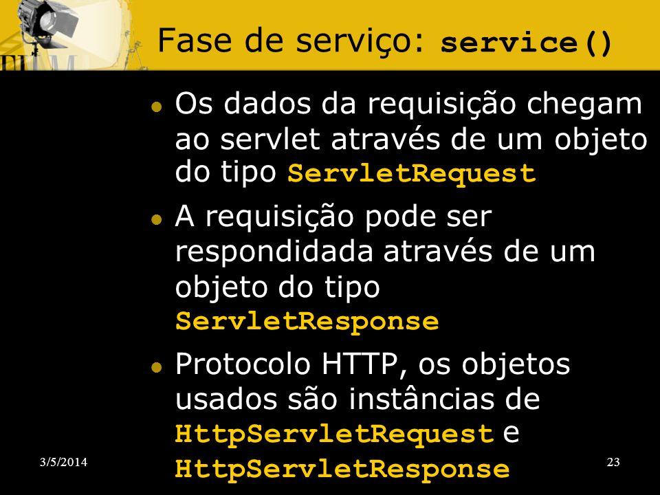 3/5/201423 Fase de serviço: service() Os dados da requisição chegam ao servlet através de um objeto do tipo ServletRequest A requisição pode ser respo
