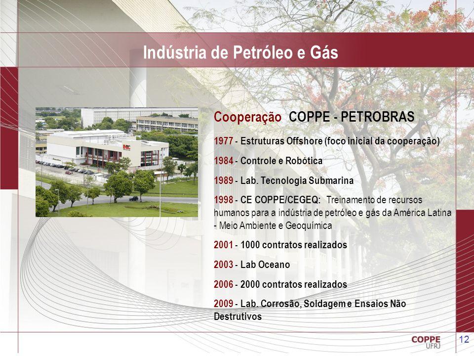 12 Cooperação COPPE - PETROBRAS 1977 - Estruturas Offshore (foco inicial da cooperação) 1984 - Controle e Robótica 1989 - Lab. Tecnologia Submarina 19