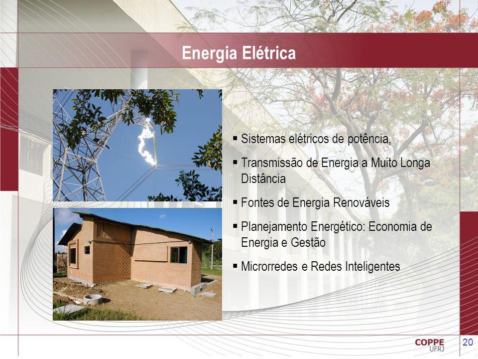 20 Energia Elétrica Sistemas elétricos de potência, Transmissão de Energia a Muito Longa Distância Fontes de Energia Renováveis Planejamento Energétic