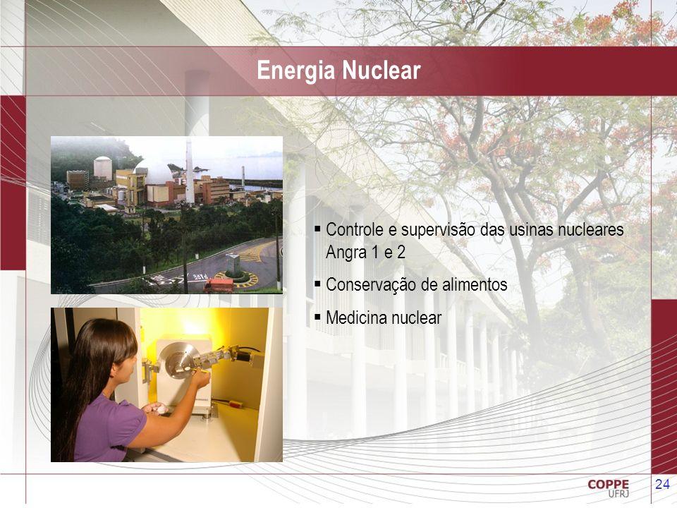 24 Energia Nuclear Controle e supervisão das usinas nucleares Angra 1 e 2 Conservação de alimentos Medicina nuclear