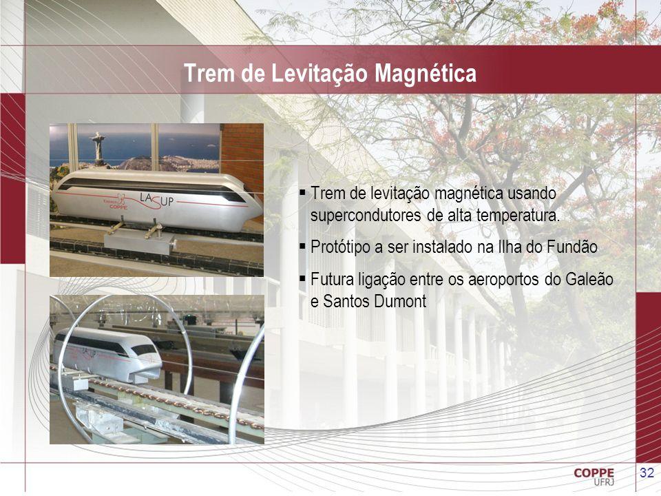 32 Trem de Levitação Magnética Trem de levitação magnética usando supercondutores de alta temperatura. Protótipo a ser instalado na Ilha do Fundão Fut