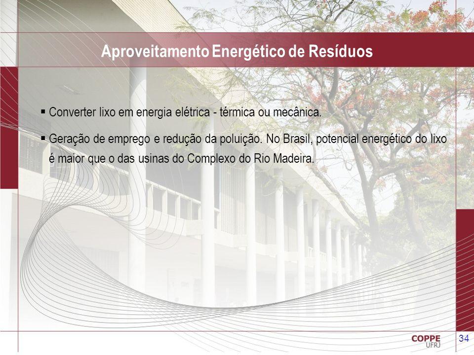 34 Aproveitamento Energético de Resíduos Converter lixo em energia elétrica - térmica ou mecânica. Geração de emprego e redução da poluição. No Brasil