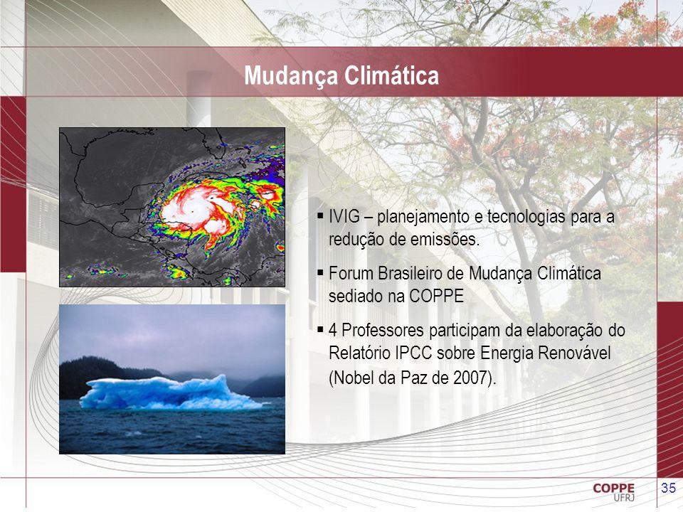 35 Mudança Climática IVIG – planejamento e tecnologias para a redução de emissões. Forum Brasileiro de Mudança Climática sediado na COPPE 4 Professore