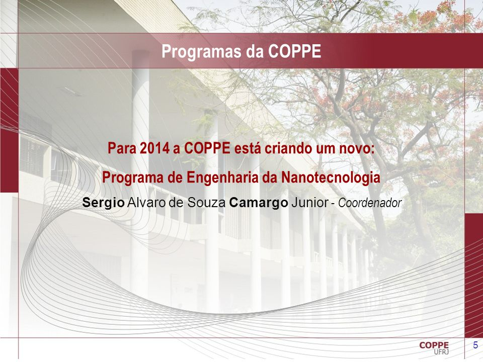 5 Programas da COPPE Para 2014 a COPPE está criando um novo: Programa de Engenharia da Nanotecnologia Sergio Alvaro de Souza Camargo Junior - Coordena