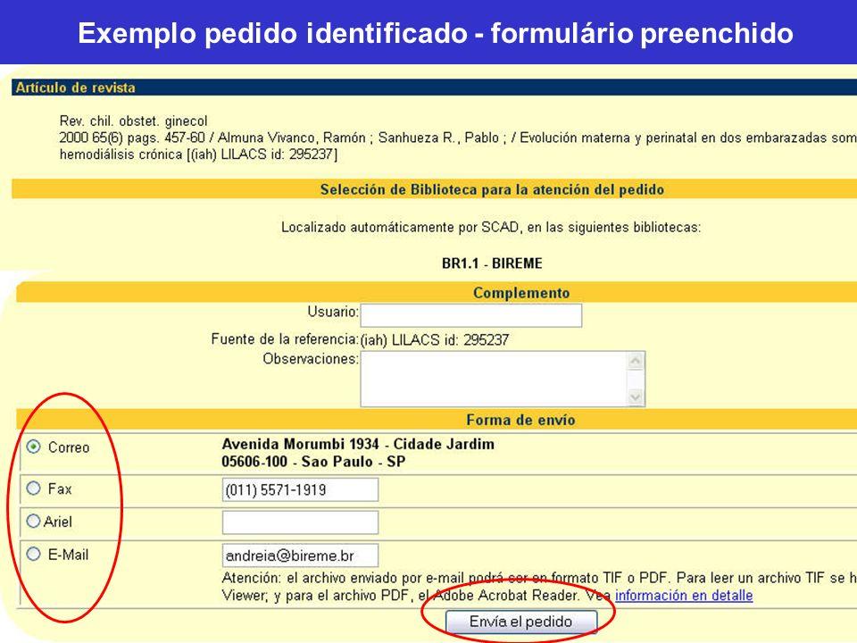 Exemplo pedido identificado - formulário preenchido