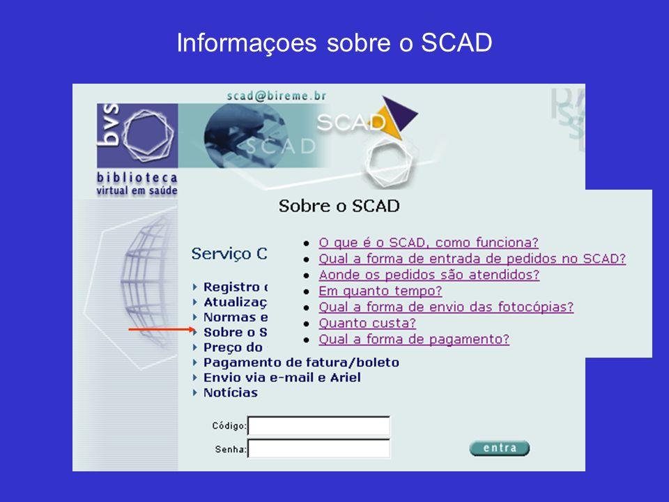 SCAD mostra a lista dos pedidos que podem ser cancelados Selecione o pedido a ser cancelado (um ou mais) e confirme o cancelamento no fim da página