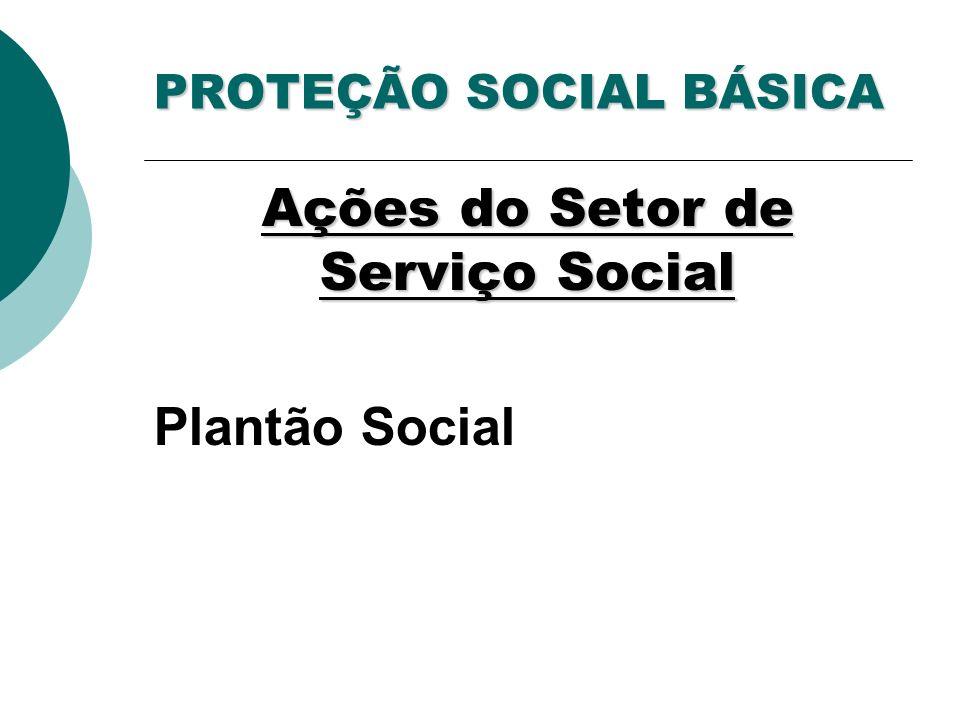 PROTEÇÃO SOCIAL BÁSICA Ações do Setor de Serviço Social Plantão Social