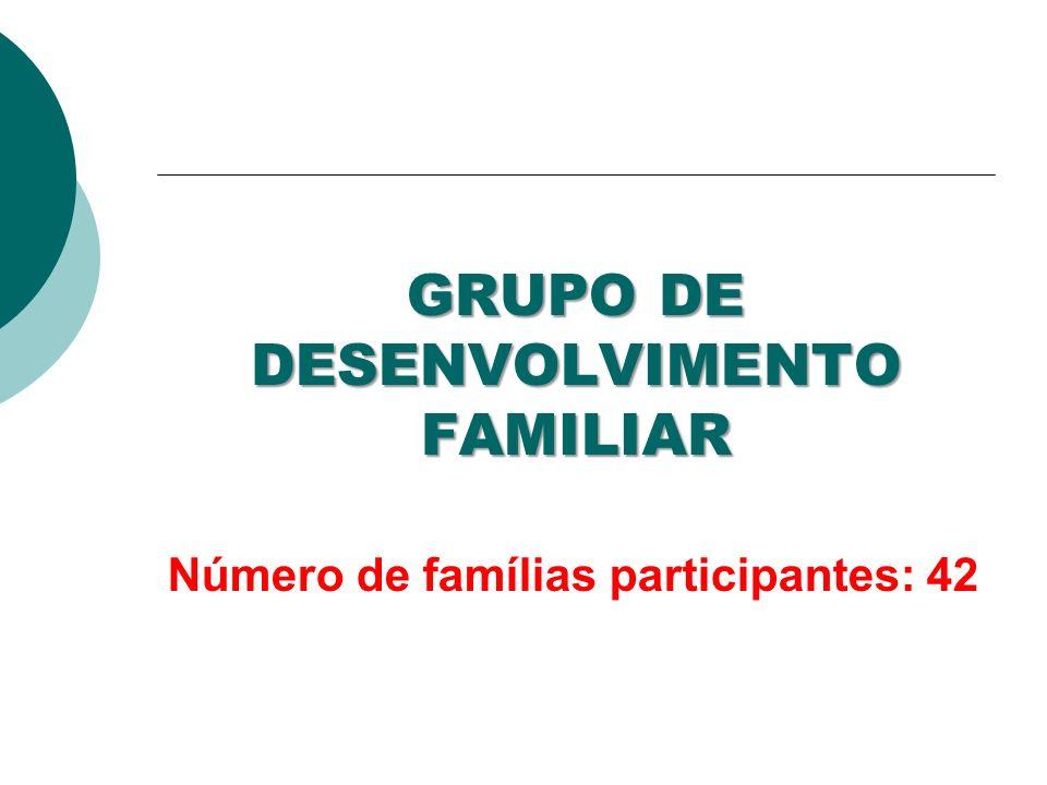 GRUPO DE DESENVOLVIMENTO FAMILIAR Número de famílias participantes: 42