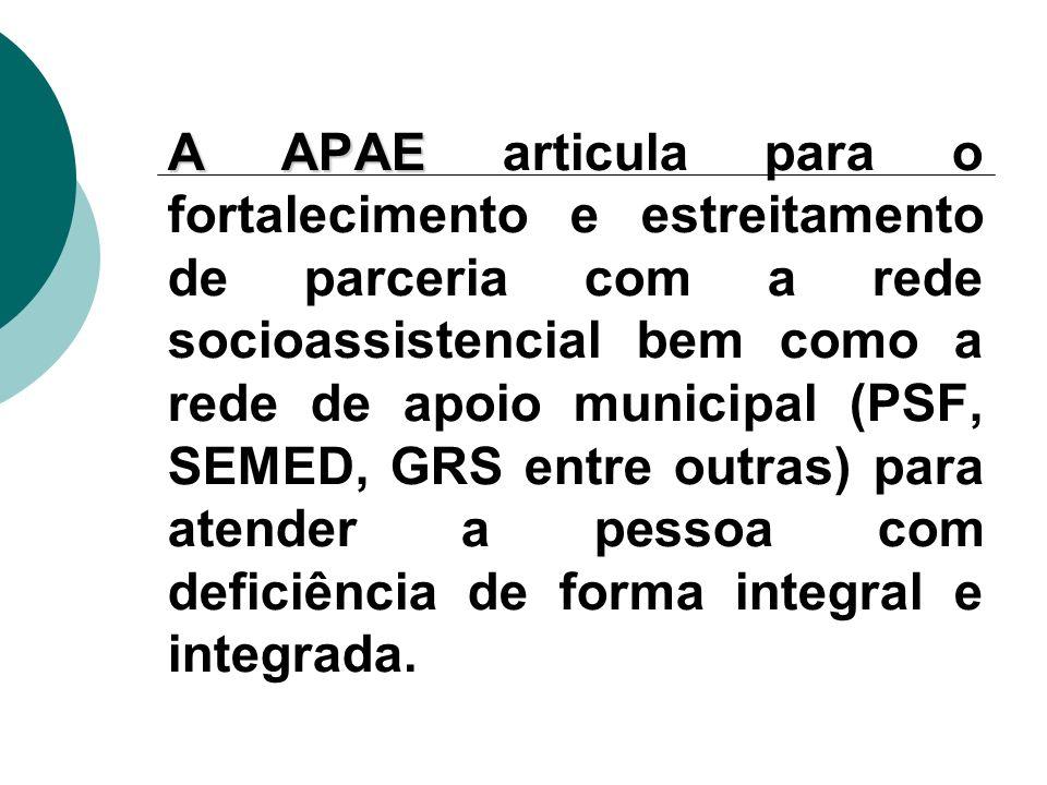 A APAE A APAE articula para o fortalecimento e estreitamento de parceria com a rede socioassistencial bem como a rede de apoio municipal (PSF, SEMED, GRS entre outras) para atender a pessoa com deficiência de forma integral e integrada.