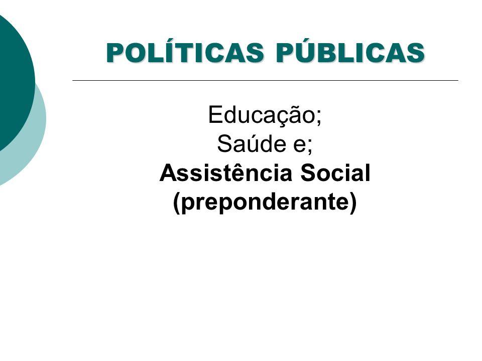 POLÍTICAS PÚBLICAS POLÍTICAS PÚBLICAS Educação; Saúde e; Assistência Social (preponderante)