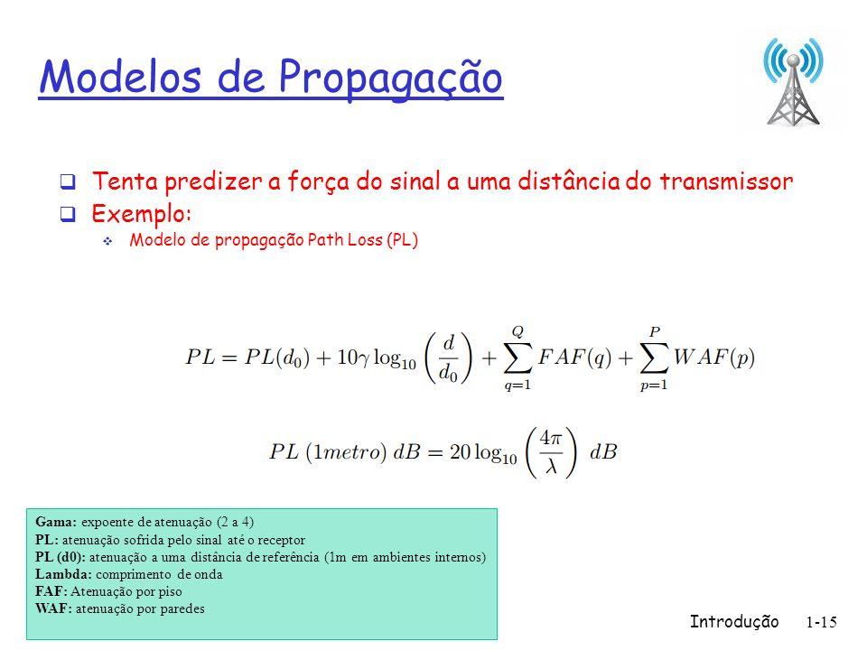 Introdução1-15 Modelos de Propagação Tenta predizer a força do sinal a uma distância do transmissor Exemplo: Modelo de propagação Path Loss (PL) Gama: