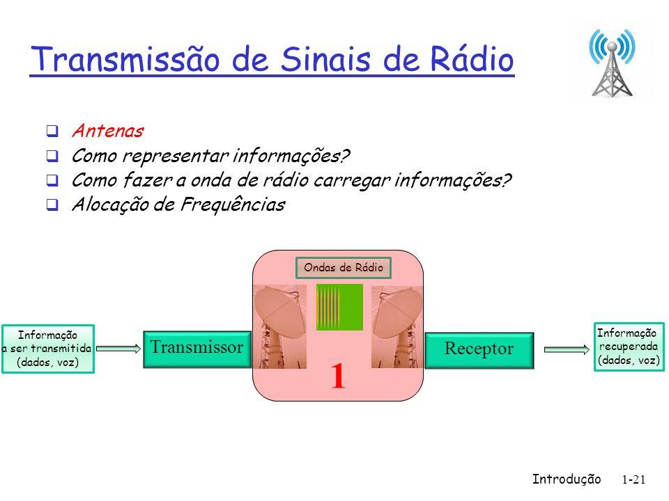 Introdução1-21 Transmissão de Sinais de Rádio Antenas Como representar informações? Como fazer a onda de rádio carregar informações? Alocação de Frequ