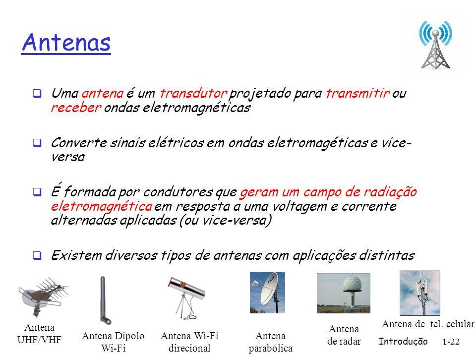 Introdução1-22 Antenas Uma antena é um transdutor projetado para transmitir ou receber ondas eletromagnéticas Converte sinais elétricos em ondas eletr