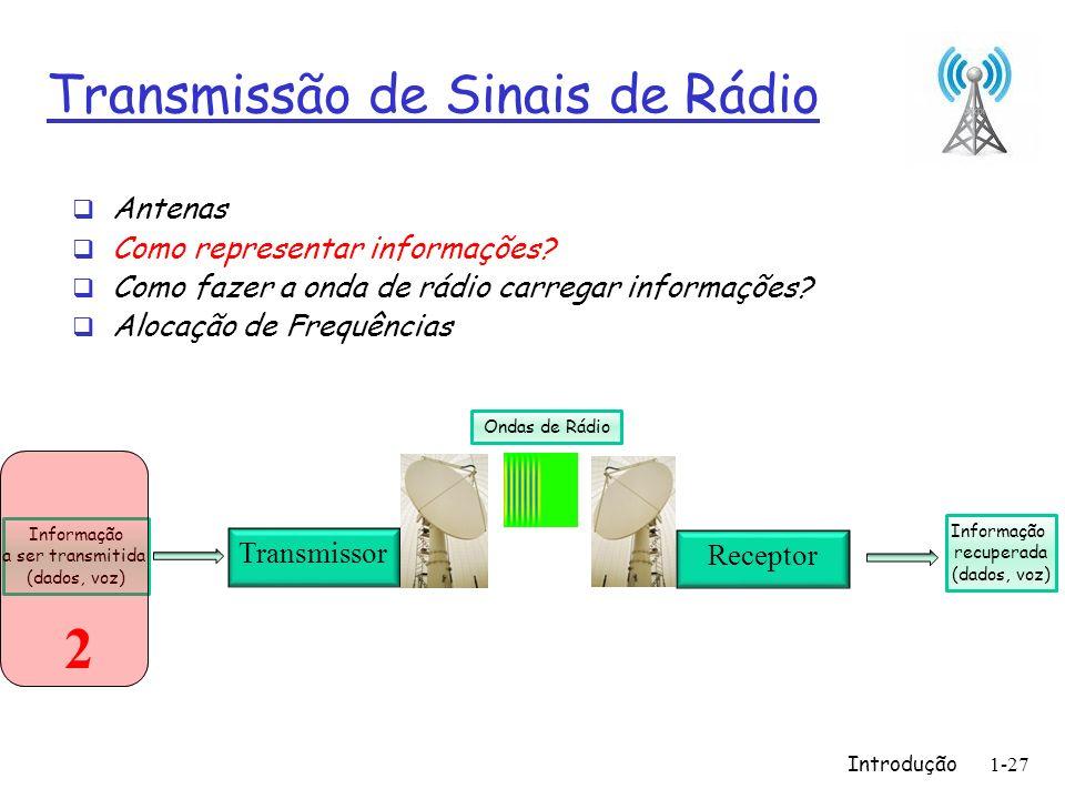 Introdução1-27 Transmissão de Sinais de Rádio Antenas Como representar informações? Como fazer a onda de rádio carregar informações? Alocação de Frequ