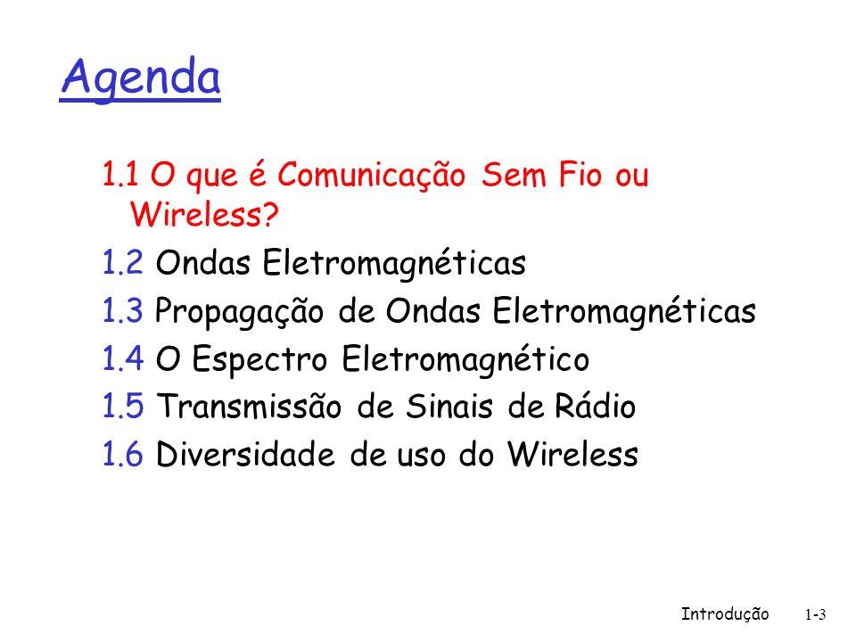 Introdução1-3 Agenda 1.1 O que é Comunicação Sem Fio ou Wireless? 1.2 Ondas Eletromagnéticas 1.3 Propagação de Ondas Eletromagnéticas 1.4 O Espectro E