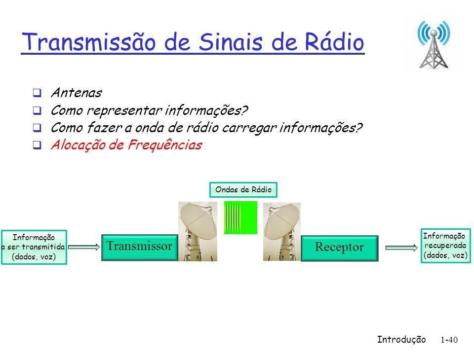 Introdução1-40 Transmissão de Sinais de Rádio Antenas Como representar informações? Como fazer a onda de rádio carregar informações? Alocação de Frequ
