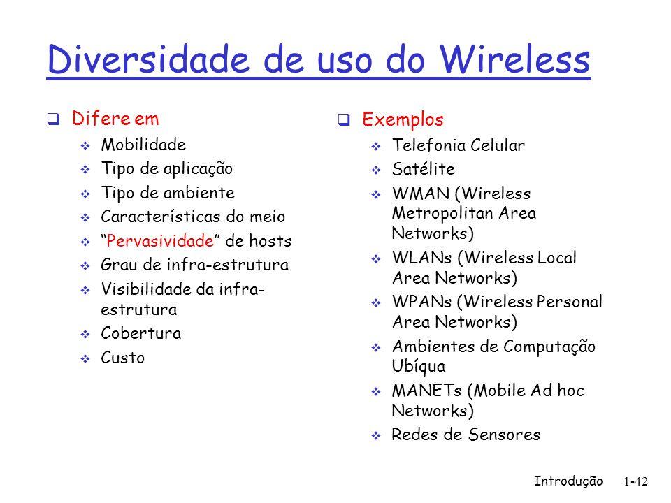 1-42 Diversidade de uso do Wireless Difere em Mobilidade Tipo de aplicação Tipo de ambiente Características do meio Pervasividade de hosts Grau de inf