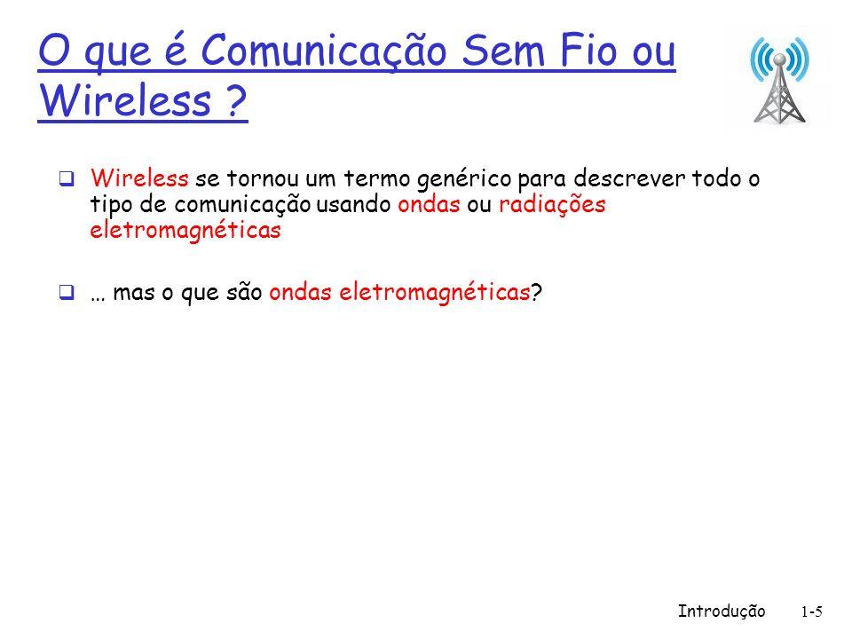 Introdução1-5 O que é Comunicação Sem Fio ou Wireless ? Wireless se tornou um termo genérico para descrever todo o tipo de comunicação usando ondas ou