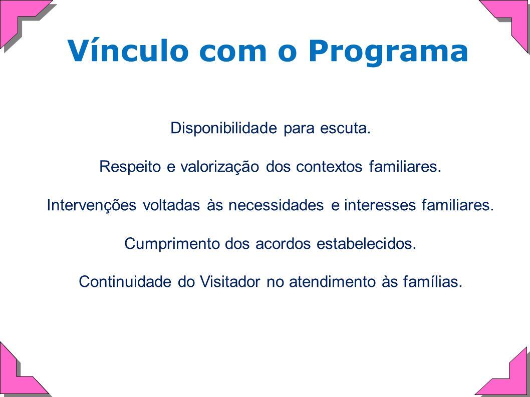 Vínculo com o Programa Disponibilidade para escuta. Respeito e valorização dos contextos familiares. Intervenções voltadas às necessidades e interesse