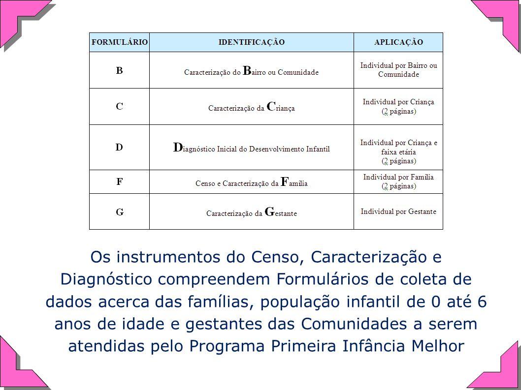 Os instrumentos do Censo, Caracterização e Diagnóstico compreendem Formulários de coleta de dados acerca das famílias, população infantil de 0 até 6 a