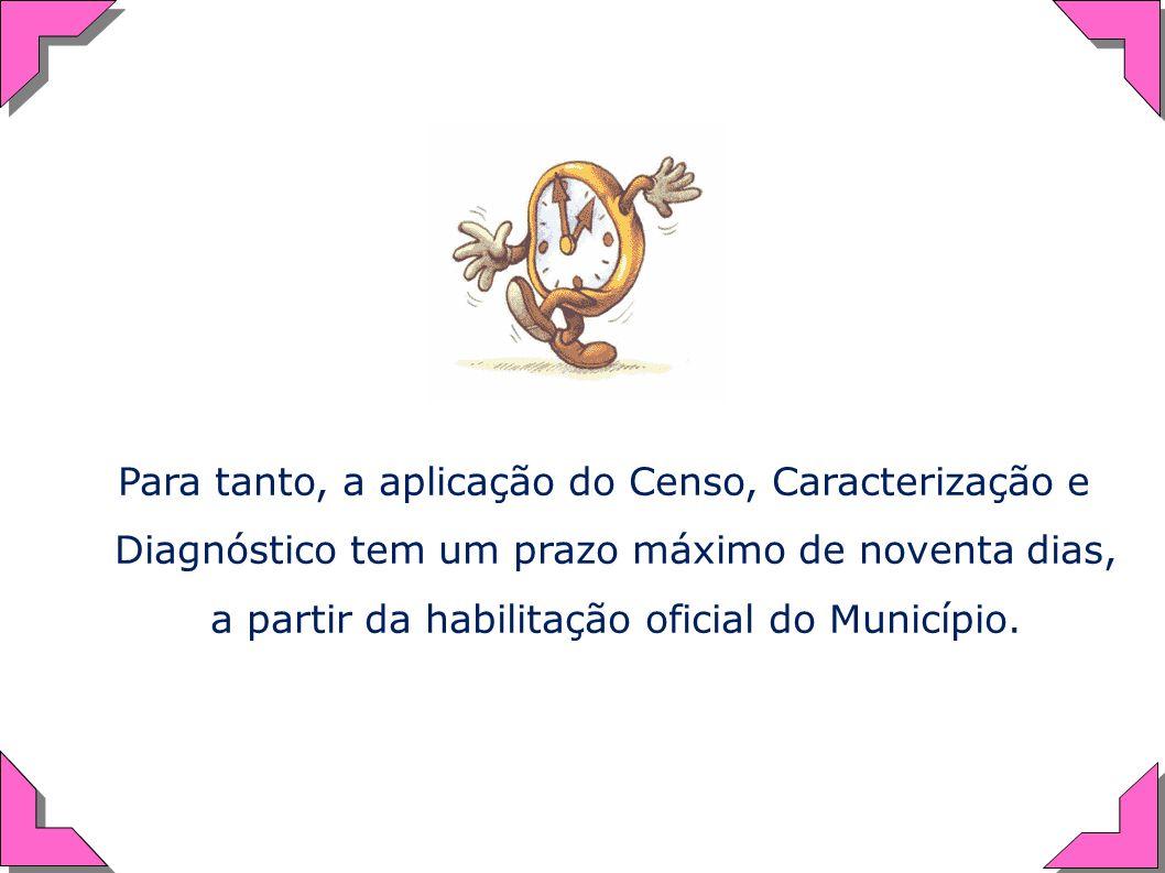 Para tanto, a aplicação do Censo, Caracterização e Diagnóstico tem um prazo máximo de noventa dias, a partir da habilitação oficial do Município.