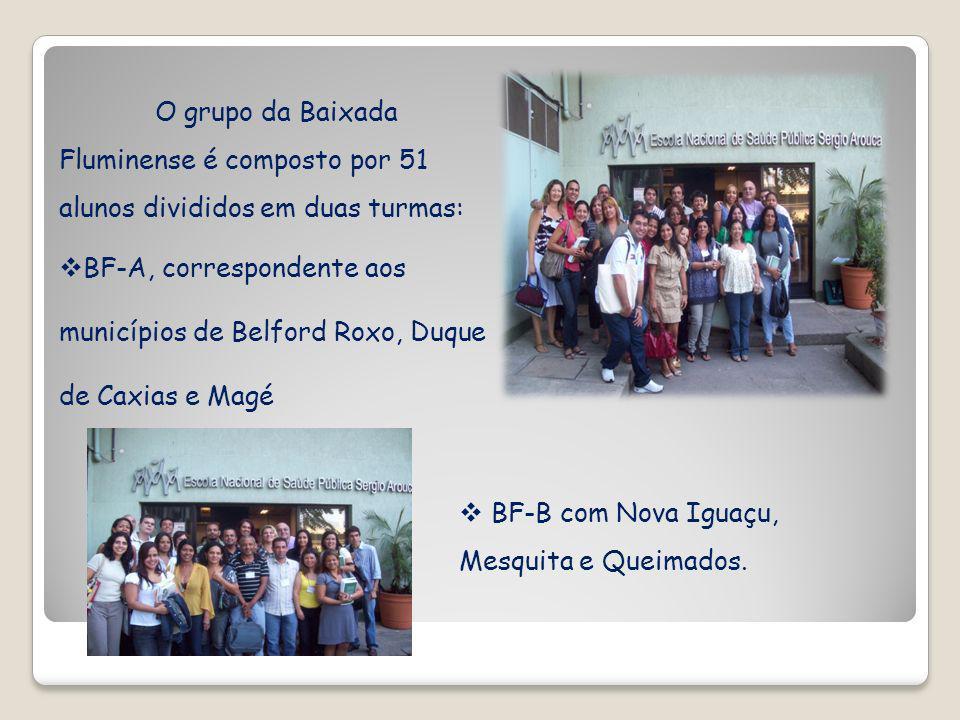 O grupo da Baixada Fluminense é composto por 51 alunos divididos em duas turmas: BF-A, correspondente aos municípios de Belford Roxo, Duque de Caxias e Magé BF-B com Nova Iguaçu, Mesquita e Queimados.