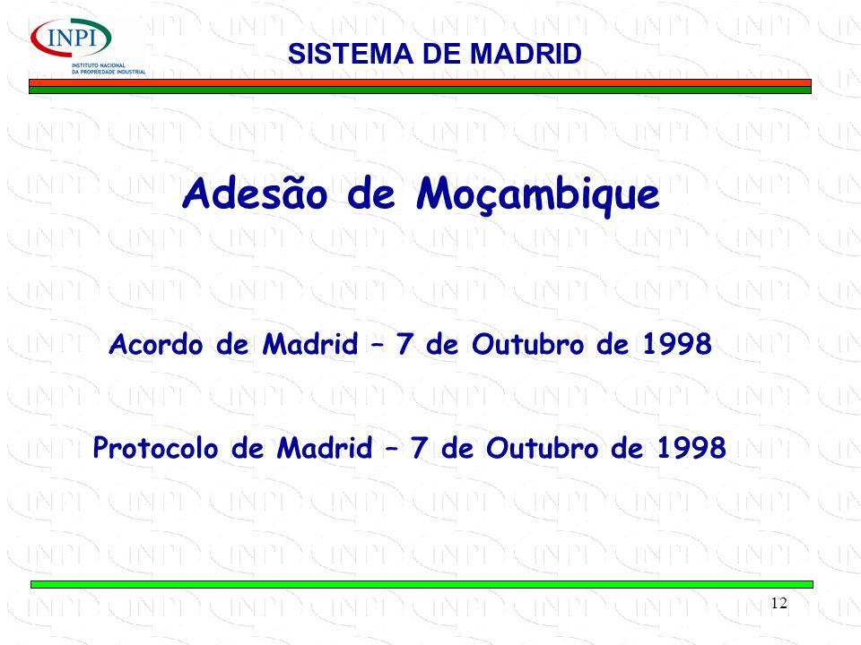 12 Adesão de Moçambique SISTEMA DE MADRID Acordo de Madrid – 7 de Outubro de 1998 Protocolo de Madrid – 7 de Outubro de 1998