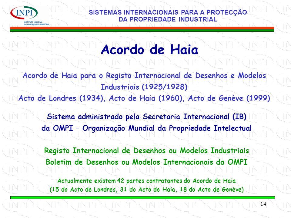 14 Acordo de Haia para o Registo Internacional de Desenhos e Modelos Industriais (1925/1928) Acto de Londres (1934), Acto de Haia (1960), Acto de Genève (1999) Acordo de Haia Sistema administrado pela Secretaria Internacional (IB) da OMPI – Organização Mundial da Propriedade Intelectual Registo Internacional de Desenhos ou Modelos Industriais Boletim de Desenhos ou Modelos Internacionais da OMPI Actualmente existem 42 partes contratantes do Acordo de Haia (15 do Acto de Londres, 31 do Acto de Haia, 18 do Acto de Genève) SISTEMAS INTERNACIONAIS PARA A PROTECÇÃO DA PROPRIEDADE INDUSTRIAL