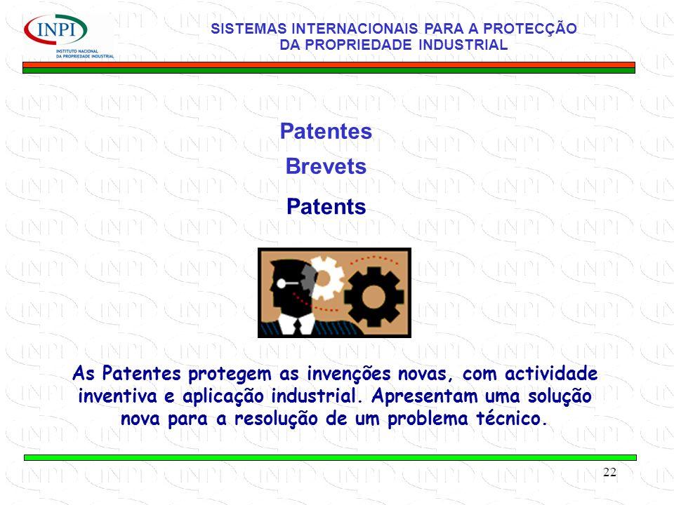 22 Patentes Brevets SISTEMAS INTERNACIONAIS PARA A PROTECÇÃO DA PROPRIEDADE INDUSTRIAL Patents As Patentes protegem as invenções novas, com actividade inventiva e aplicação industrial.